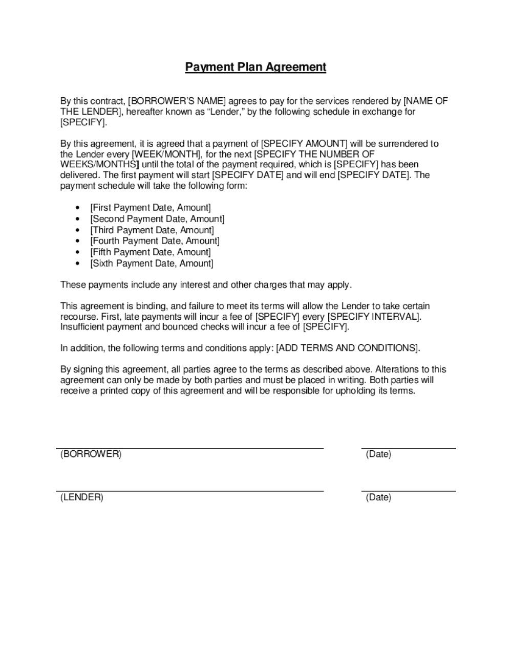 009 Stunning Installment Payment Contract Template Inspiration  Agreement Free Car WordFull