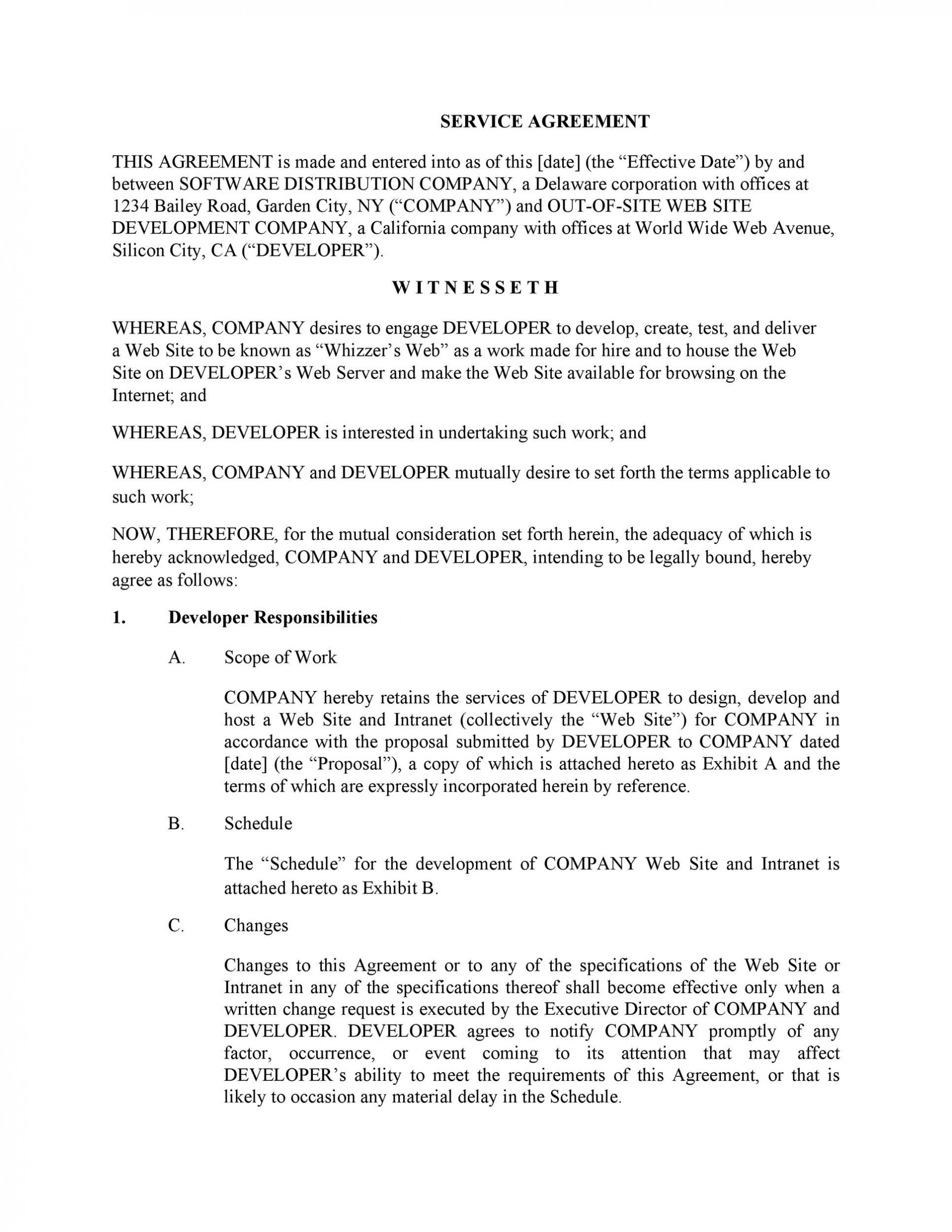 009 Stunning It Service Contract Template Sample  Support Agreement Provider South Africa Managed Example1920