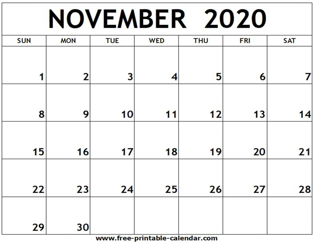 009 Stunning Printable Calendar Template November 2020 Picture  FreeLarge