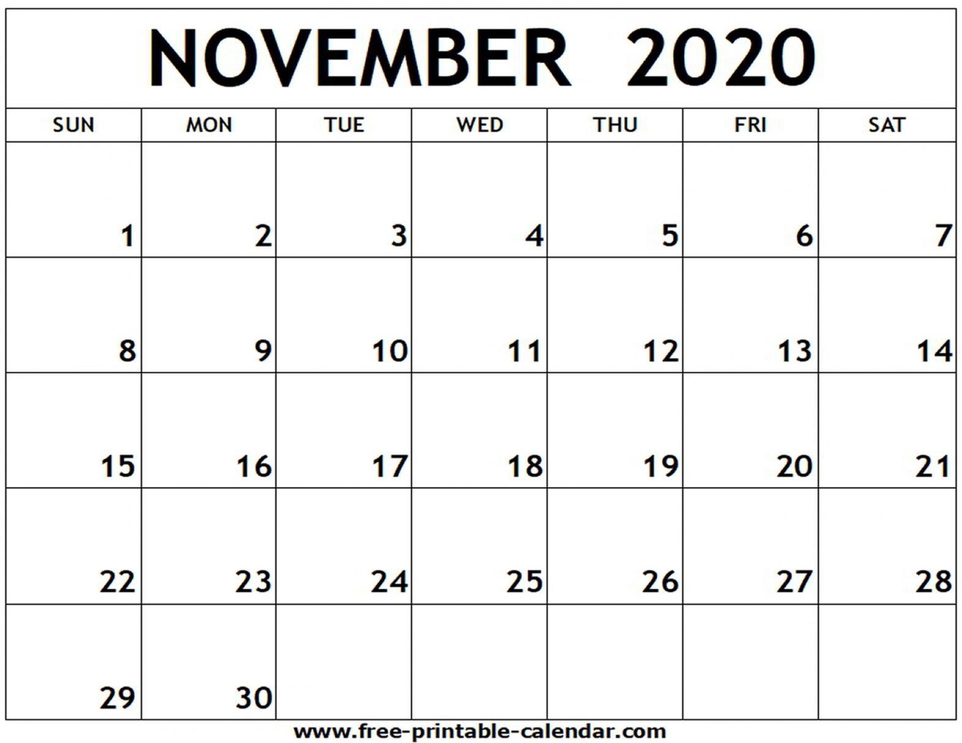 009 Stunning Printable Calendar Template November 2020 Picture  Free1920