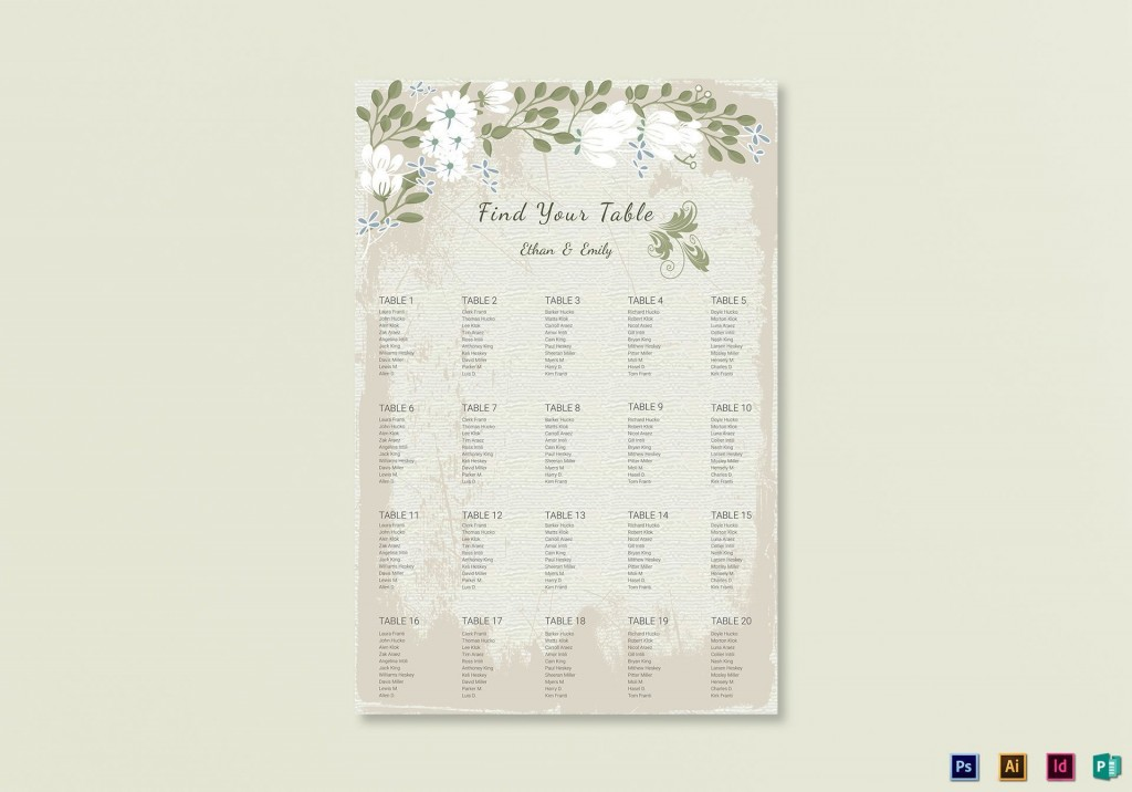 009 Stunning Seating Chart Wedding Template Example  Alphabetical Word Table PlanLarge