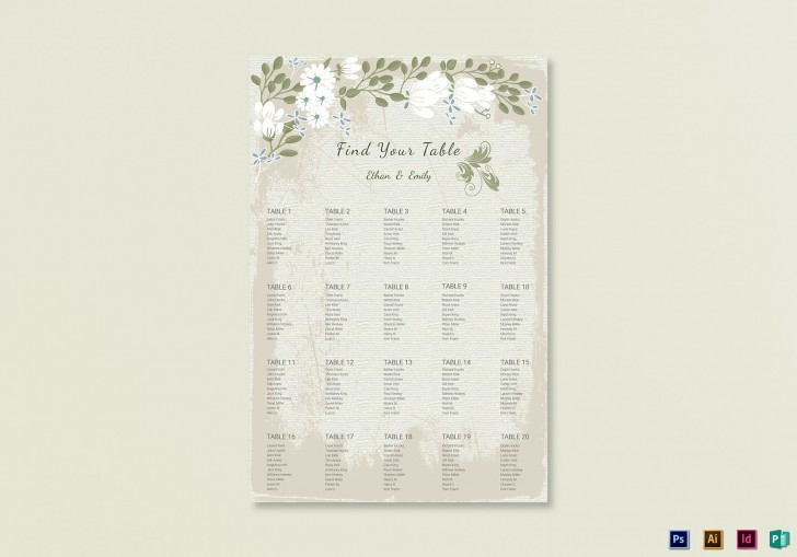 009 Stunning Seating Chart Wedding Template Example  Alphabetical Word Table Plan728