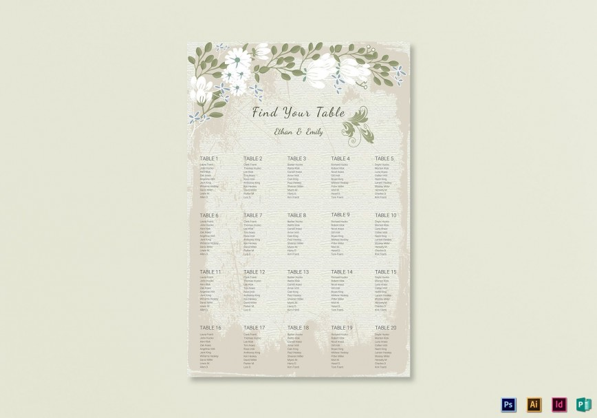 009 Stunning Seating Chart Wedding Template Example  Alphabetical Word Table Plan868