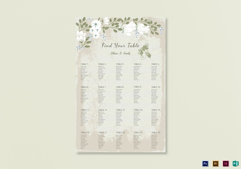 009 Stunning Seating Chart Wedding Template Example  Alphabetical Word Table Plan960