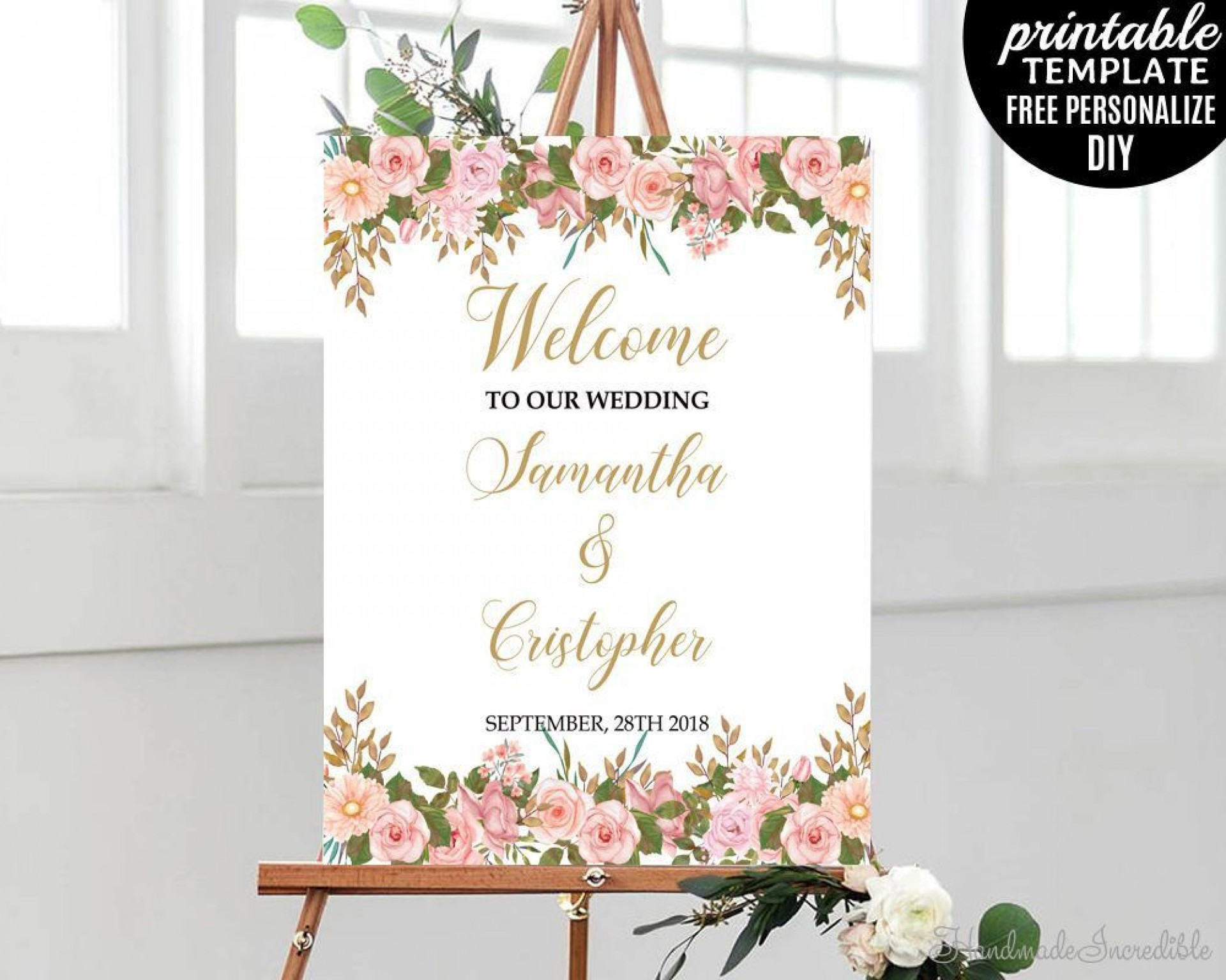 009 Stunning Wedding Welcome Sign Template Free Design 1920