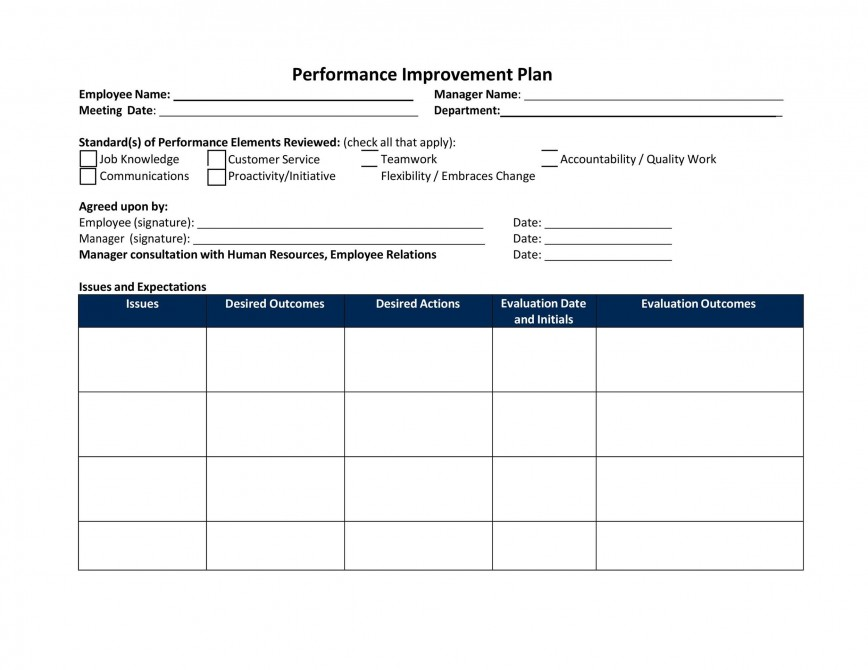 009 Stupendou Employee Improvement Plan Template High Definition  Proces Performance Work Example