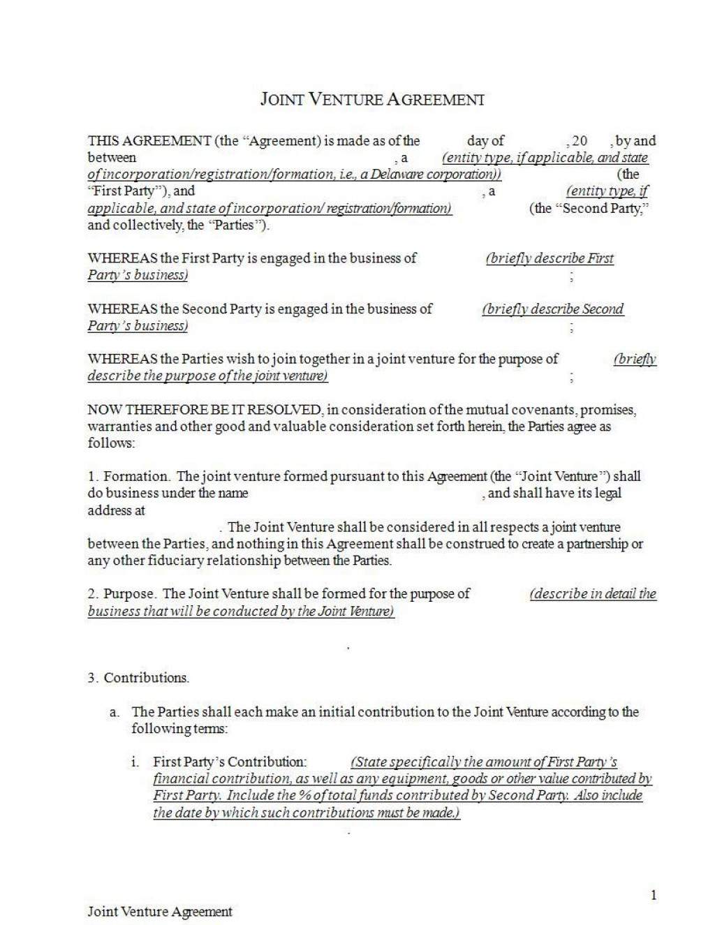 009 Stupendou Joint Venture Agreement Format Pdf Example  TemplateLarge
