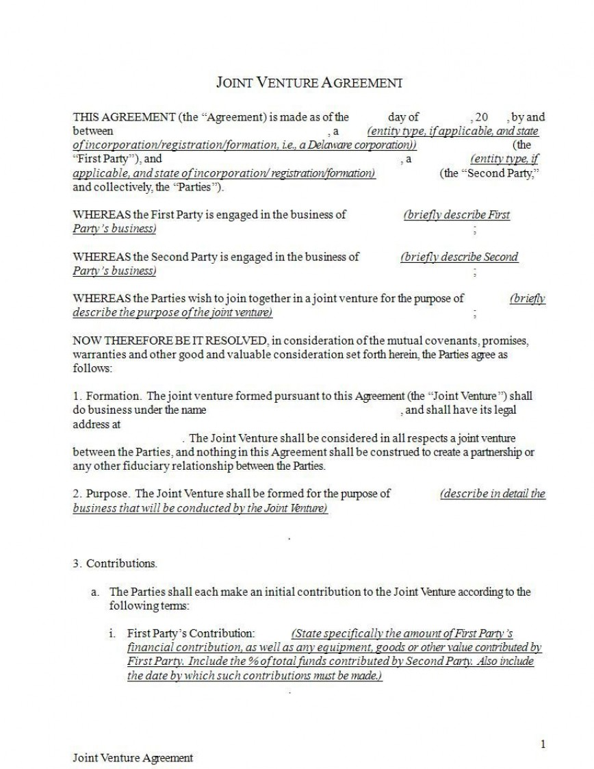 009 Stupendou Joint Venture Agreement Format Pdf Example  Template