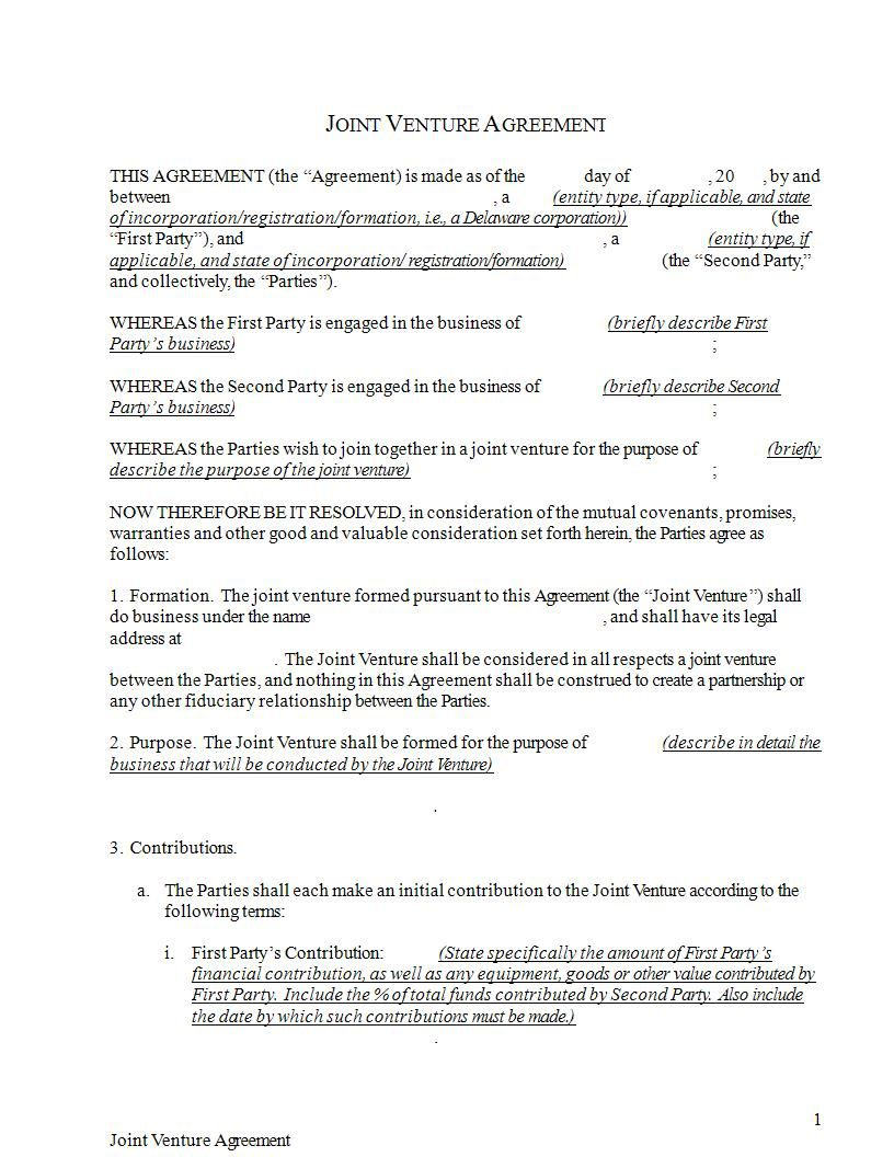 009 Stupendou Joint Venture Agreement Format Pdf Example  TemplateFull