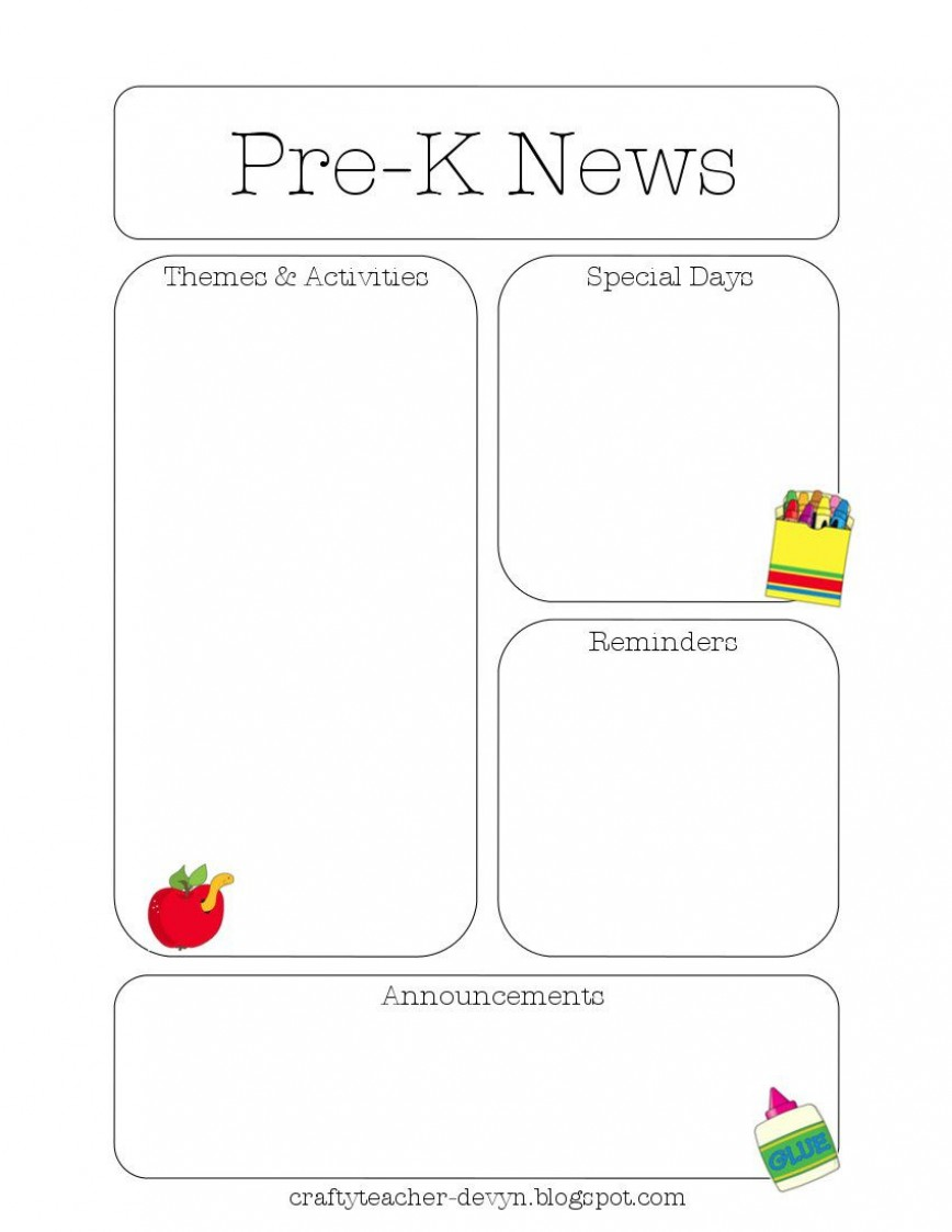 009 Stupendou Pre K Newsletter Template Picture  Templates Free Printable Classroom Monthly