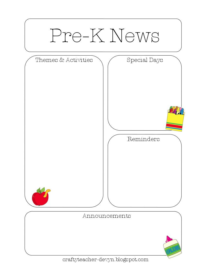 009 Stupendou Pre K Newsletter Template Picture  Templates Free Printable ClassroomFull