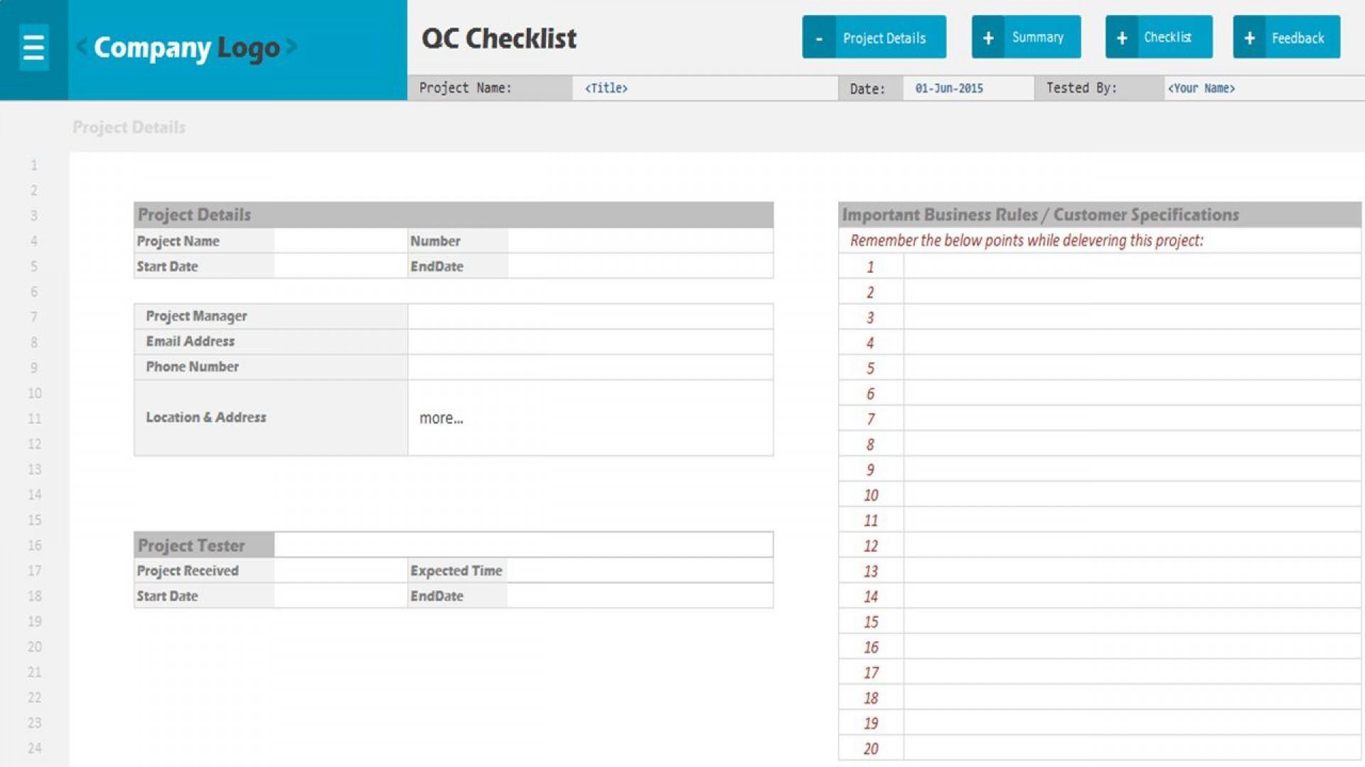 009 Stupendou Project Management Checklist Template Sample  Audit Excel Plan1920