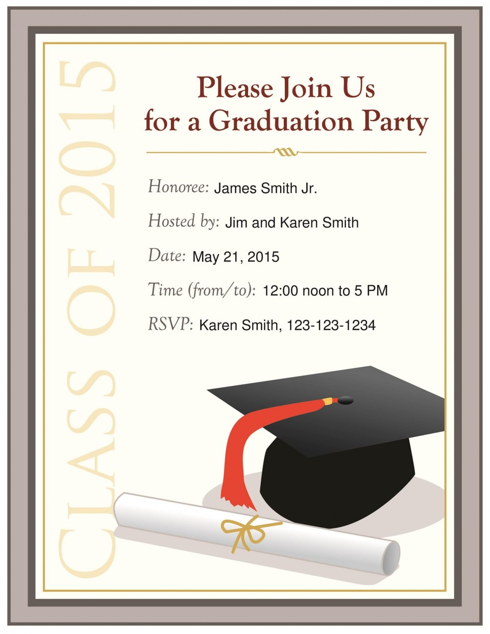 009 Surprising Free Graduation Announcement Template Picture  Invitation Microsoft Word Printable Kindergarten960
