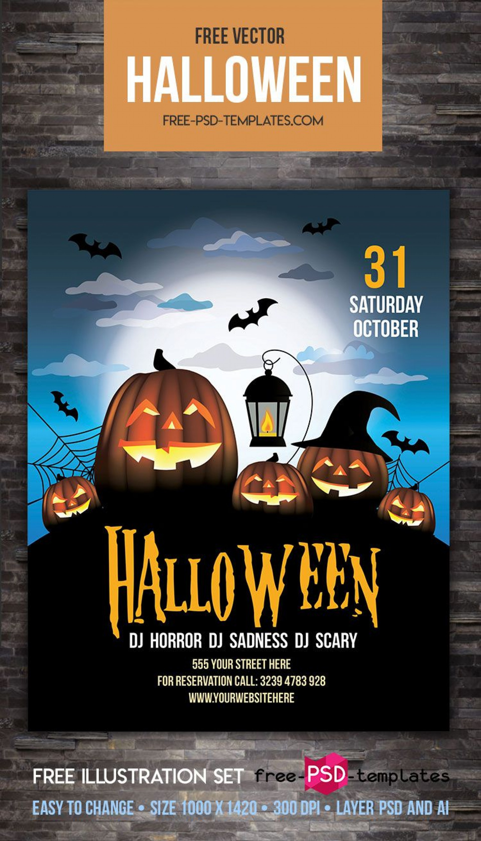 009 Surprising Free Halloween Party Flyer Template Example  Templates1920