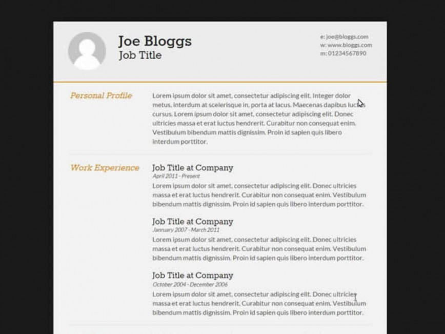 009 Surprising Free Html Resume Template High Resolution  Clean Cv / Download Cs Website