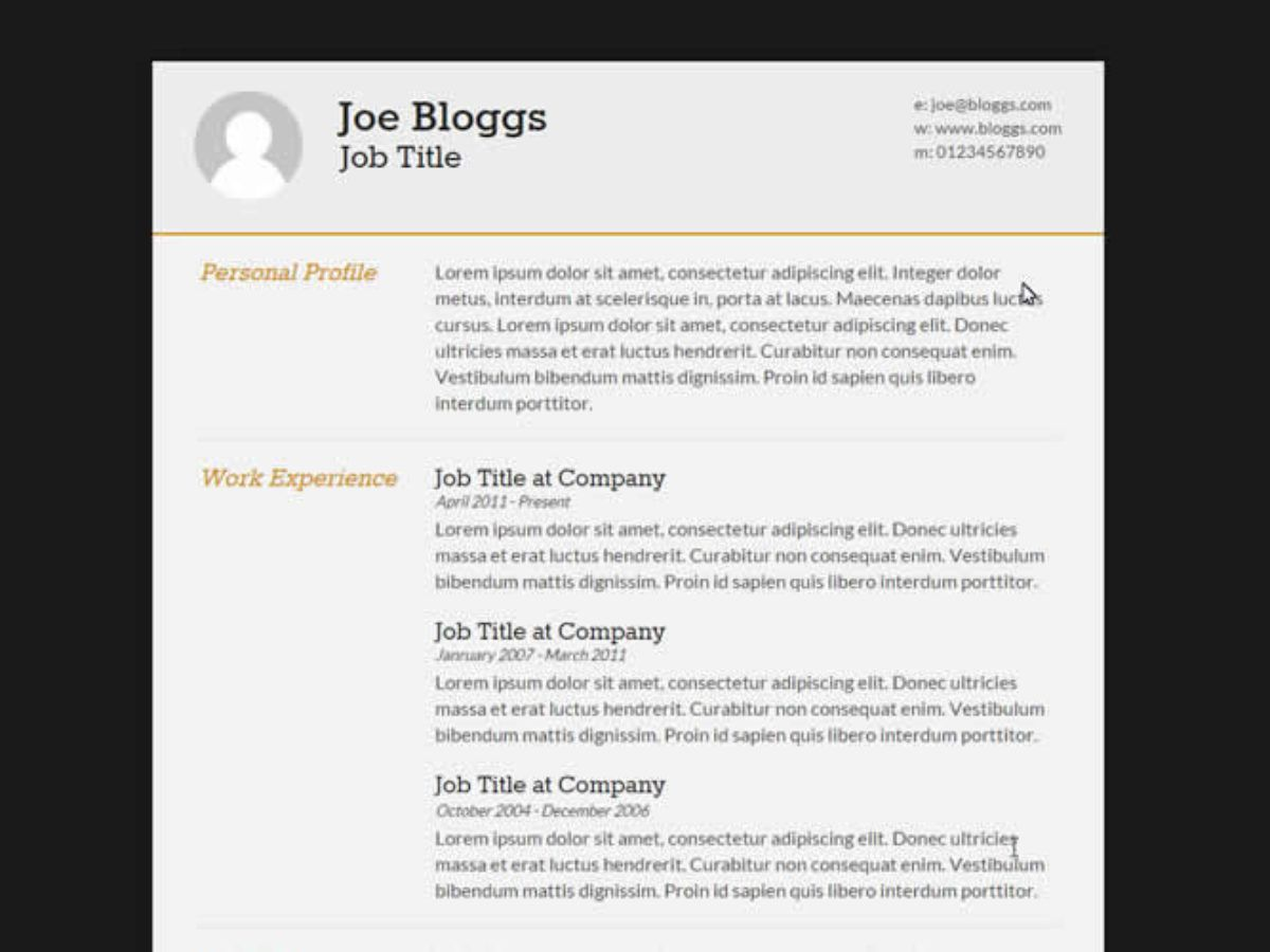 009 Surprising Free Html Resume Template High Resolution  Html5 Best Cv Desmond / DownloadFull