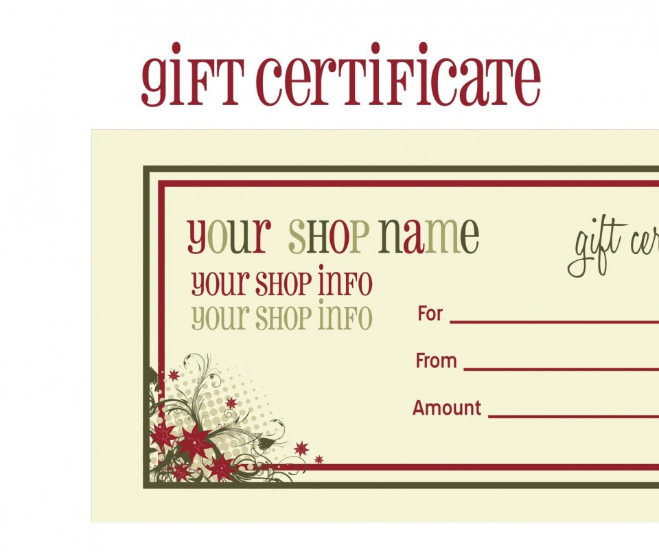 009 Surprising Free Printable Template For Gift Certificate Inspiration  Voucher960