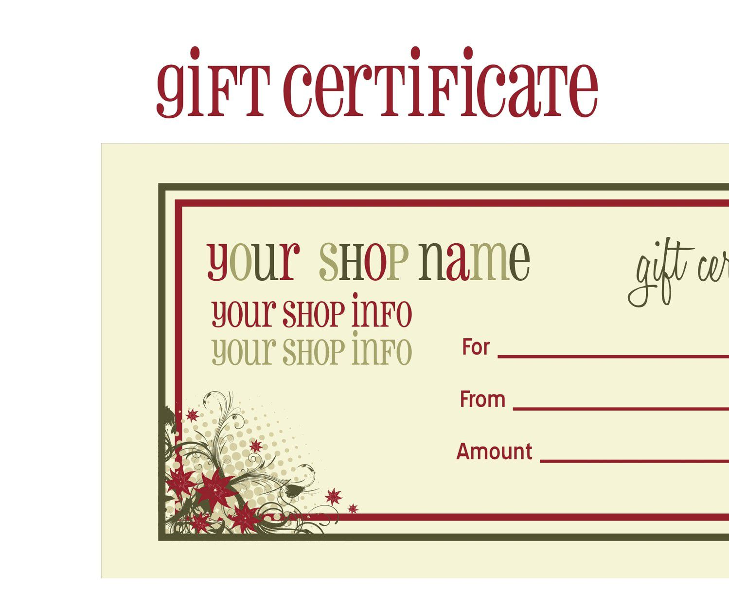009 Surprising Free Printable Template For Gift Certificate Inspiration  VoucherFull