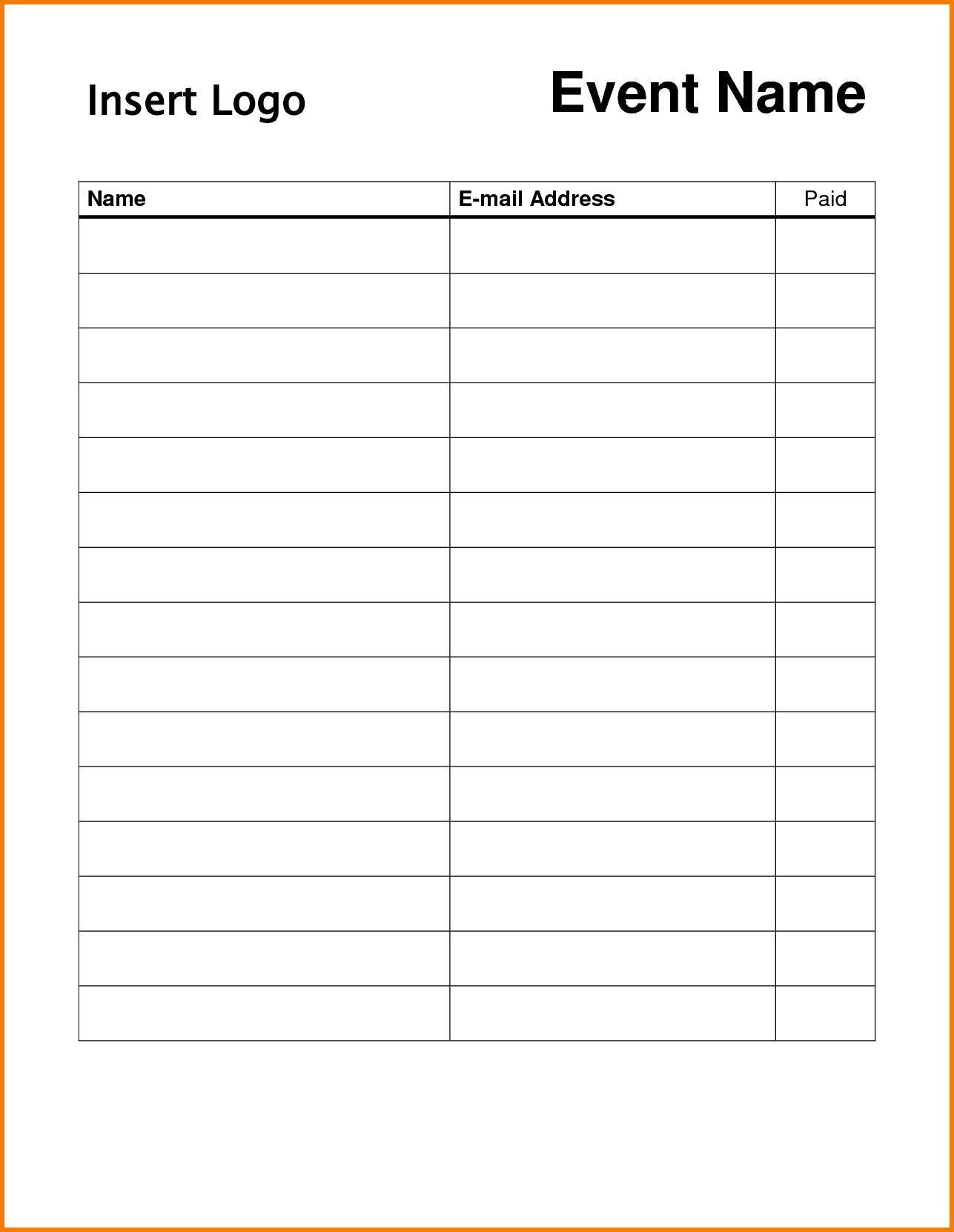 009 Surprising Free Sign Up Sheet Template Photo  Printable Potluck Word Blank Google DocFull