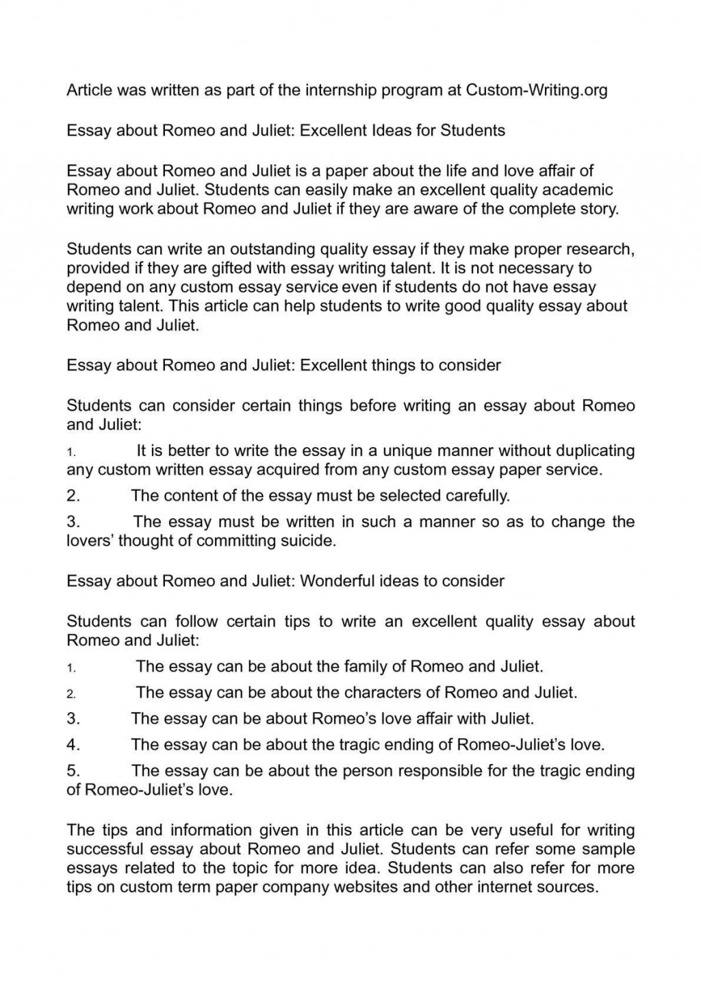 009 Surprising Romeo And Juliet Essay Photo  Who I Responsible For Juliet' Death Introduction Hook Question PdfLarge