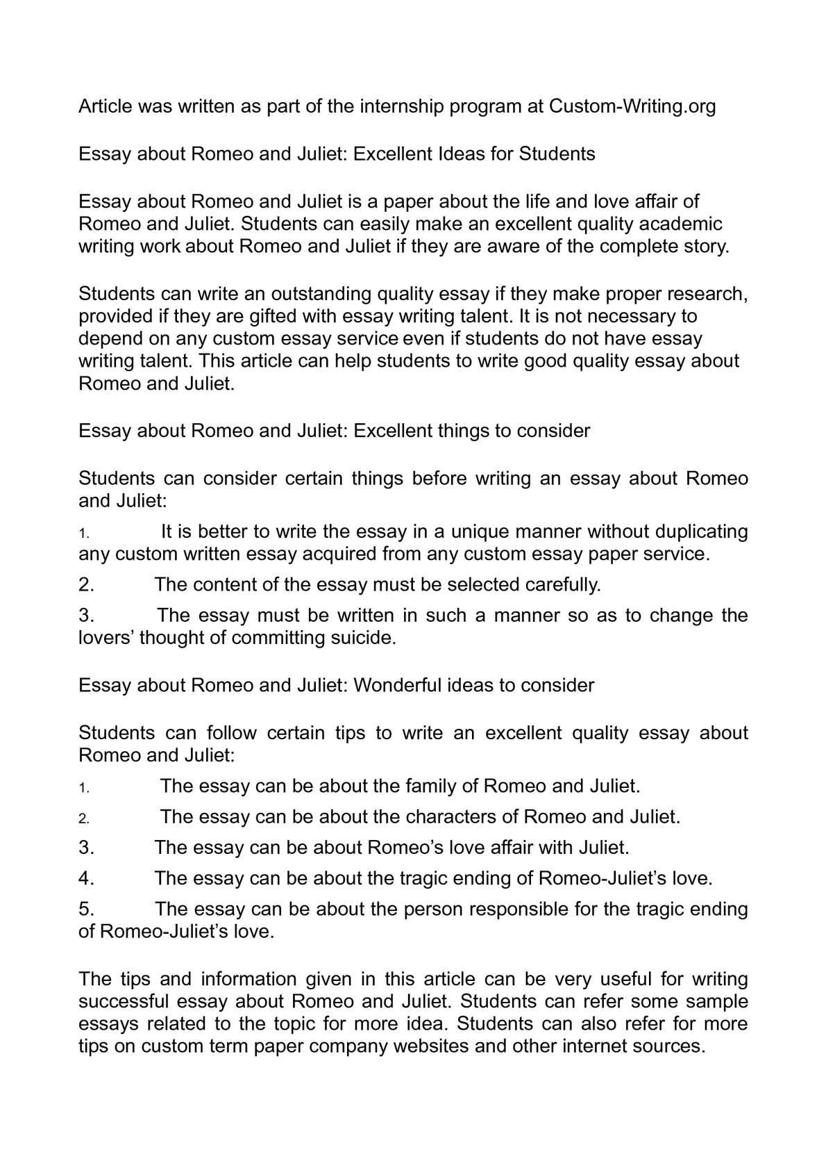 009 Surprising Romeo And Juliet Essay Photo  Who I Responsible For Juliet' Death Introduction Hook Question PdfFull