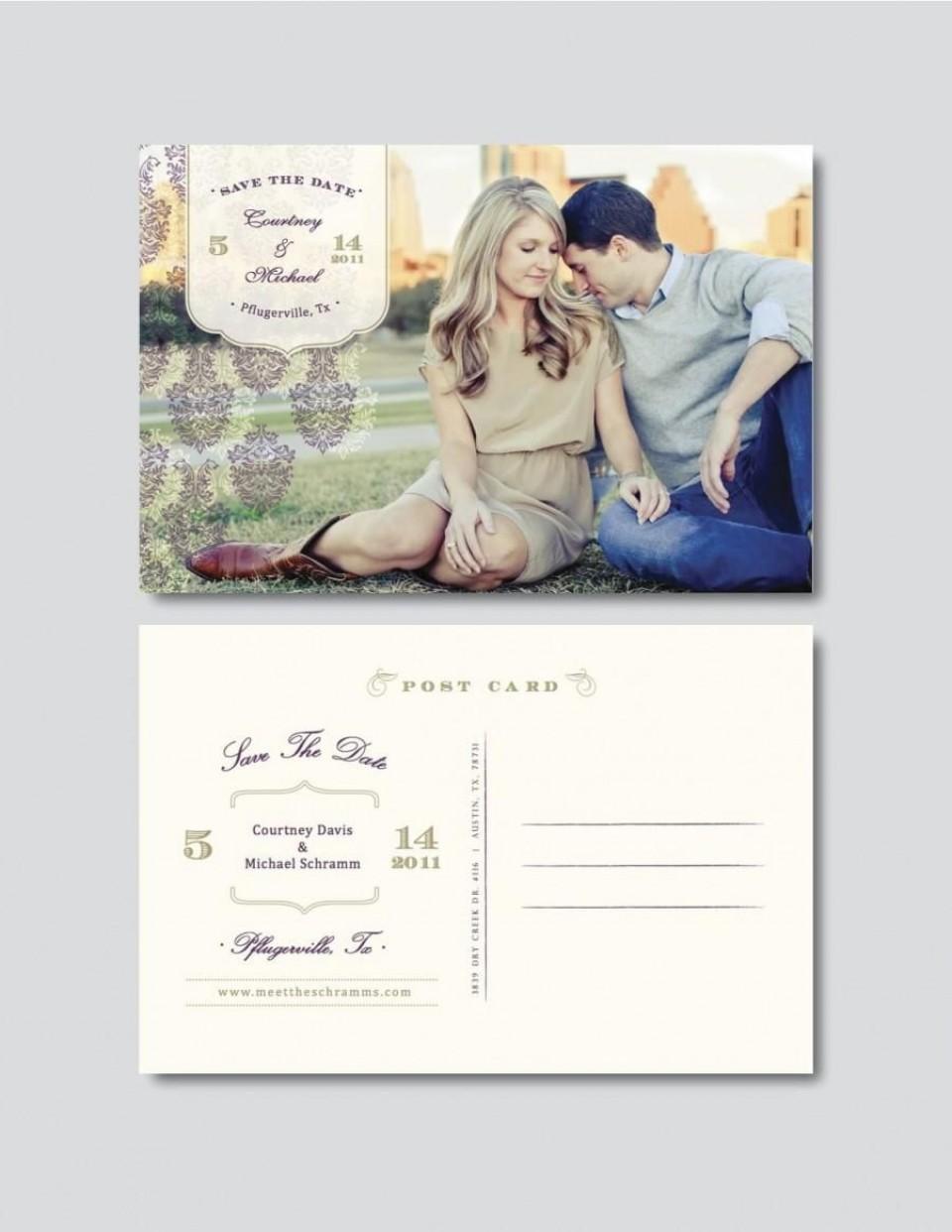 009 Surprising Save The Date Postcard Template Photo  Diy Free Birthday960