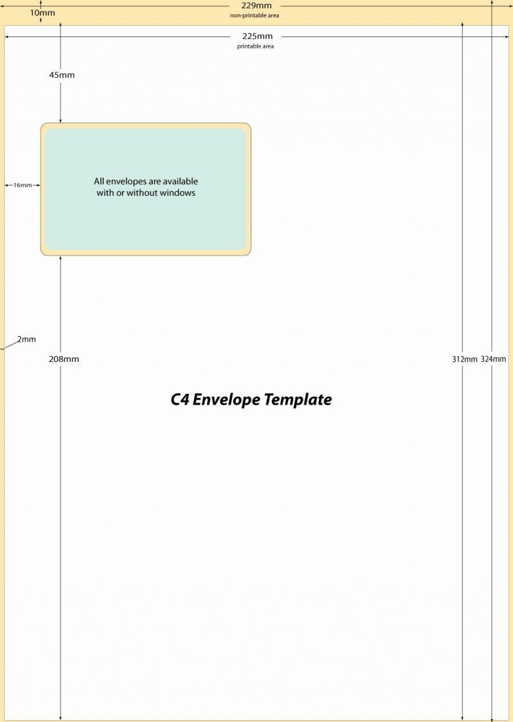 009 Top 10 Envelope Template Word Sample  Size Microsoft #10 Double WindowLarge