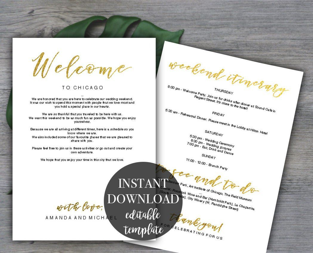 009 Top Destination Wedding Welcome Letter And Itinerary Template Concept Full