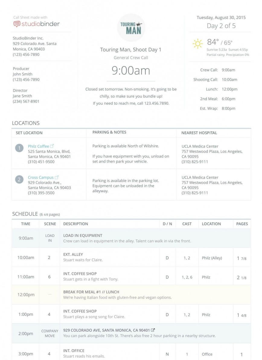 009 Top Film Call Sheet Format Concept  Production Example Movie Magic Template