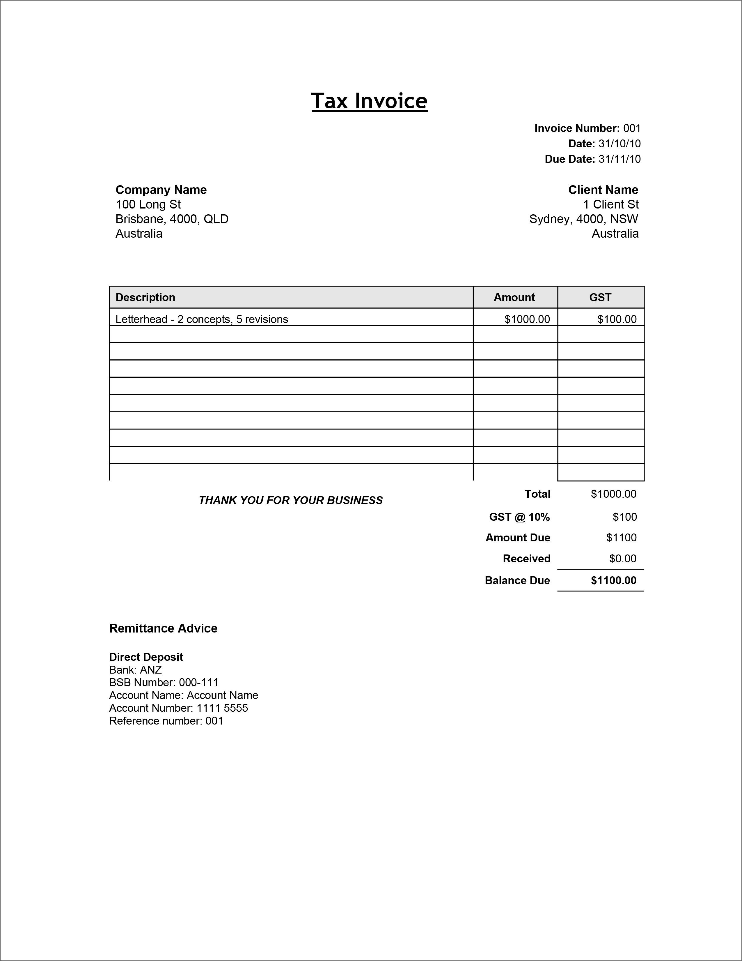 009 Top Free Printable Tax Invoice Template Australia High Definition Full