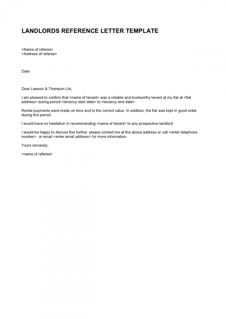 009 Top Free Reference Letter Template For Landlord Sample  Rental868