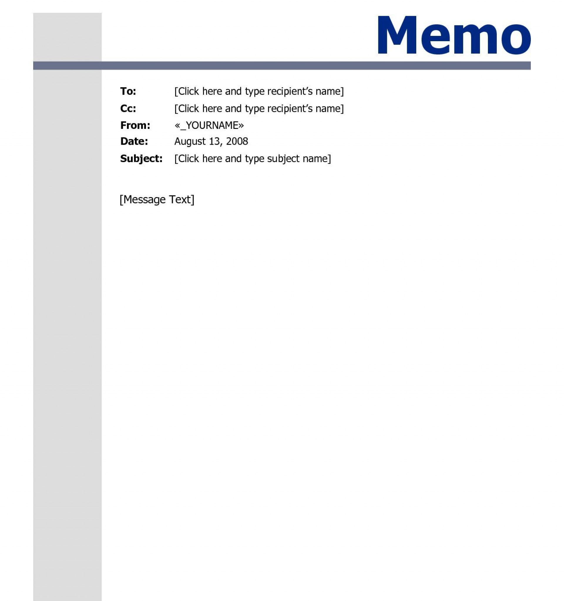009 Top Memo Template For Word Highest Quality  Free Cash Sample 20131920
