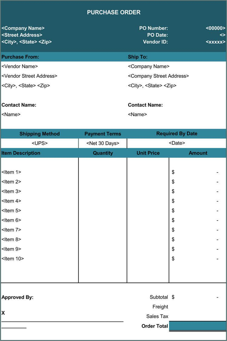 009 Top Purchase Order Template Free Image  Log M Acces BlanketFull