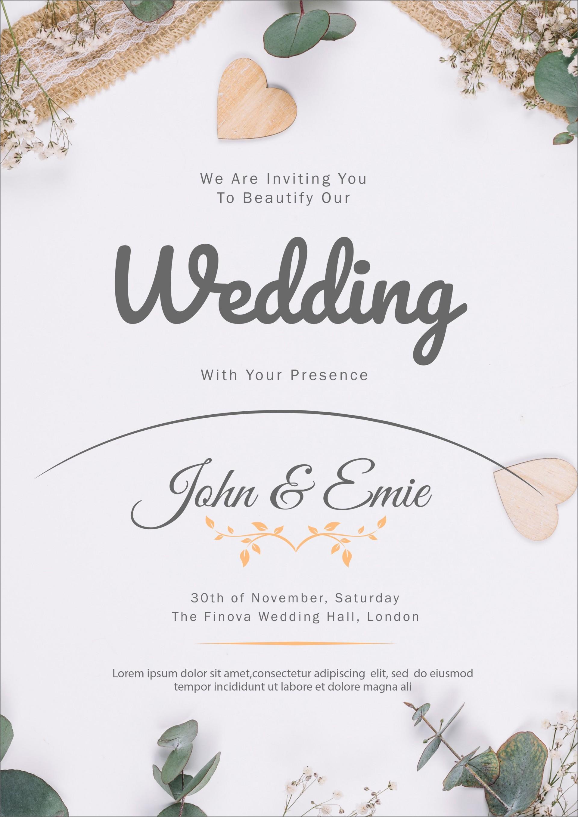 009 Top Sample Wedding Invitation Template High Resolution  Templates Wording Card1920