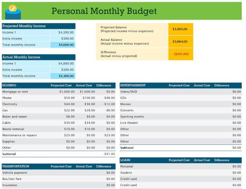 009 Top Simple Excel Monthly Budget Template Example  Household Microsoft Office FreeLarge