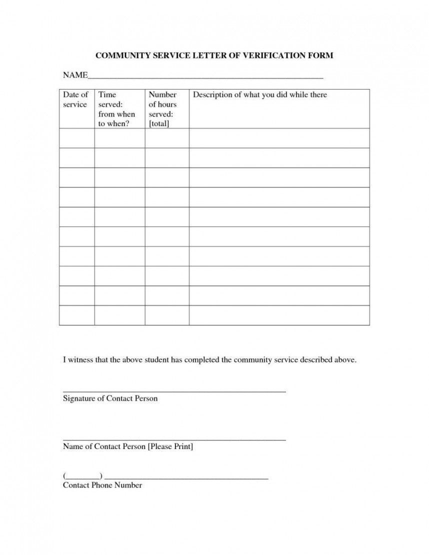 009 Top Volunteer Hour Form Template High Resolution  Service Community PdfFull
