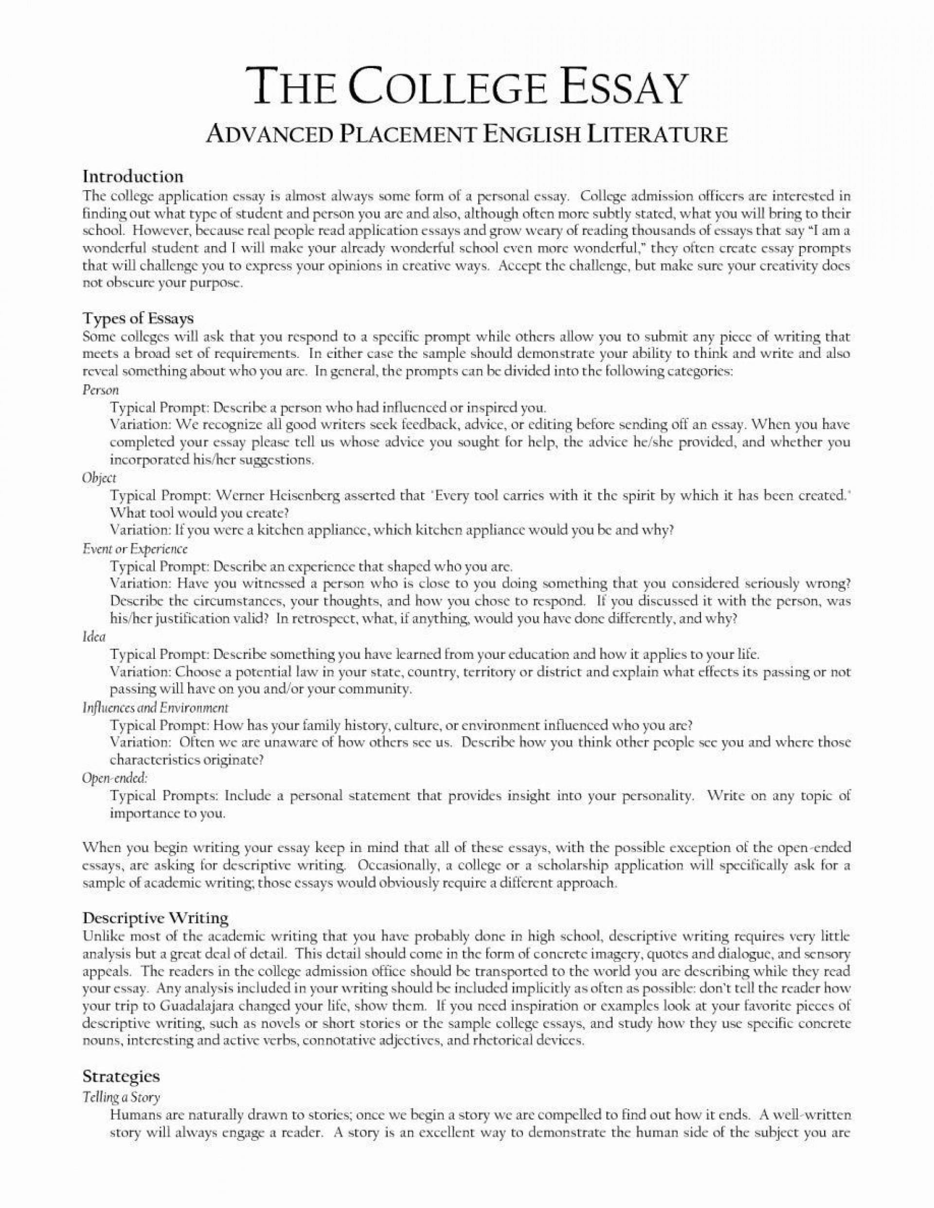 009 Unbelievable College Application Essay Format Example Sample  Examples Outline1920