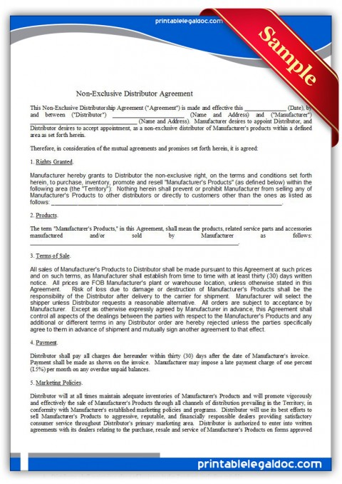 009 Unbelievable Exclusive Distribution Agreement Template Free High Definition  Australia480