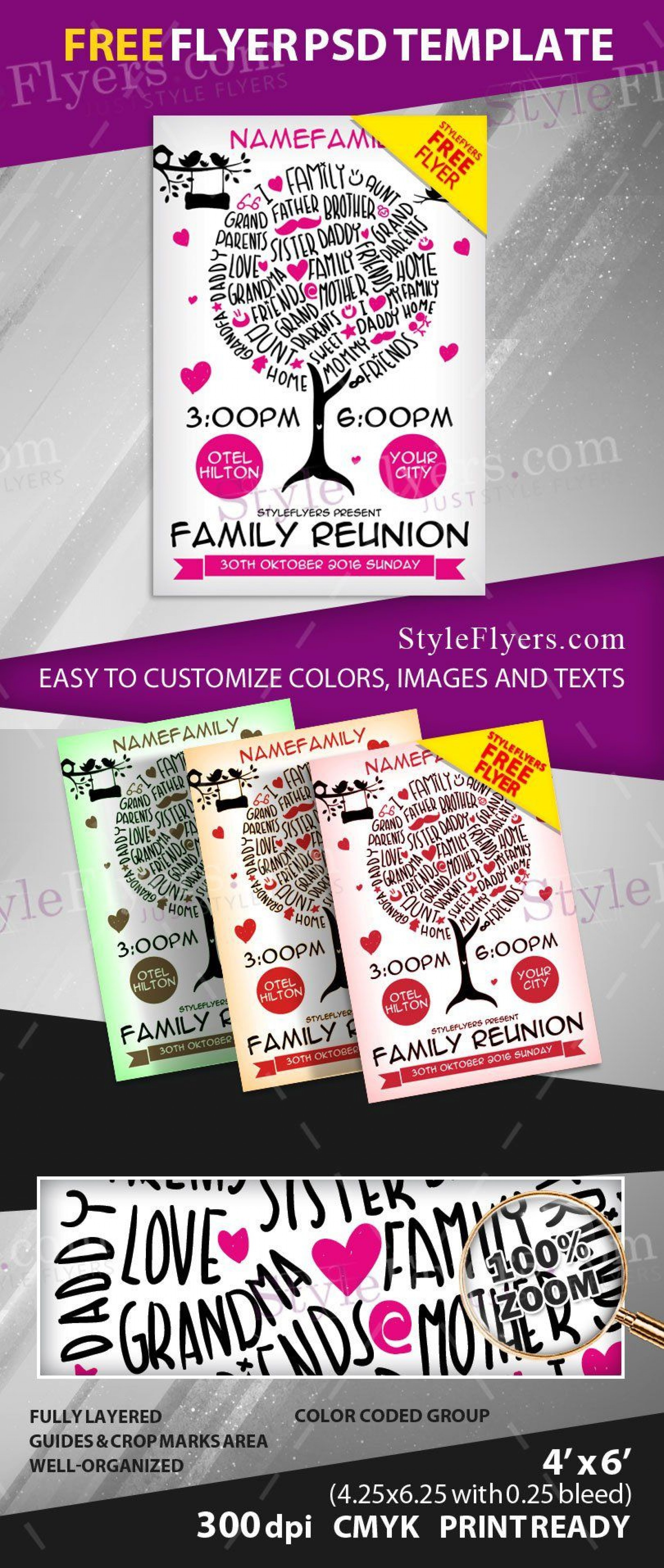 009 Unbelievable Family Reunion Flyer Template Free Concept  Downloadable Printable Invitation1920
