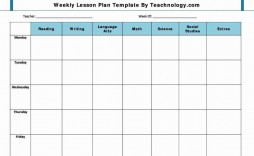 009 Unbelievable Free Blank Lesson Plan Template Pdf Picture  Weekly Editable