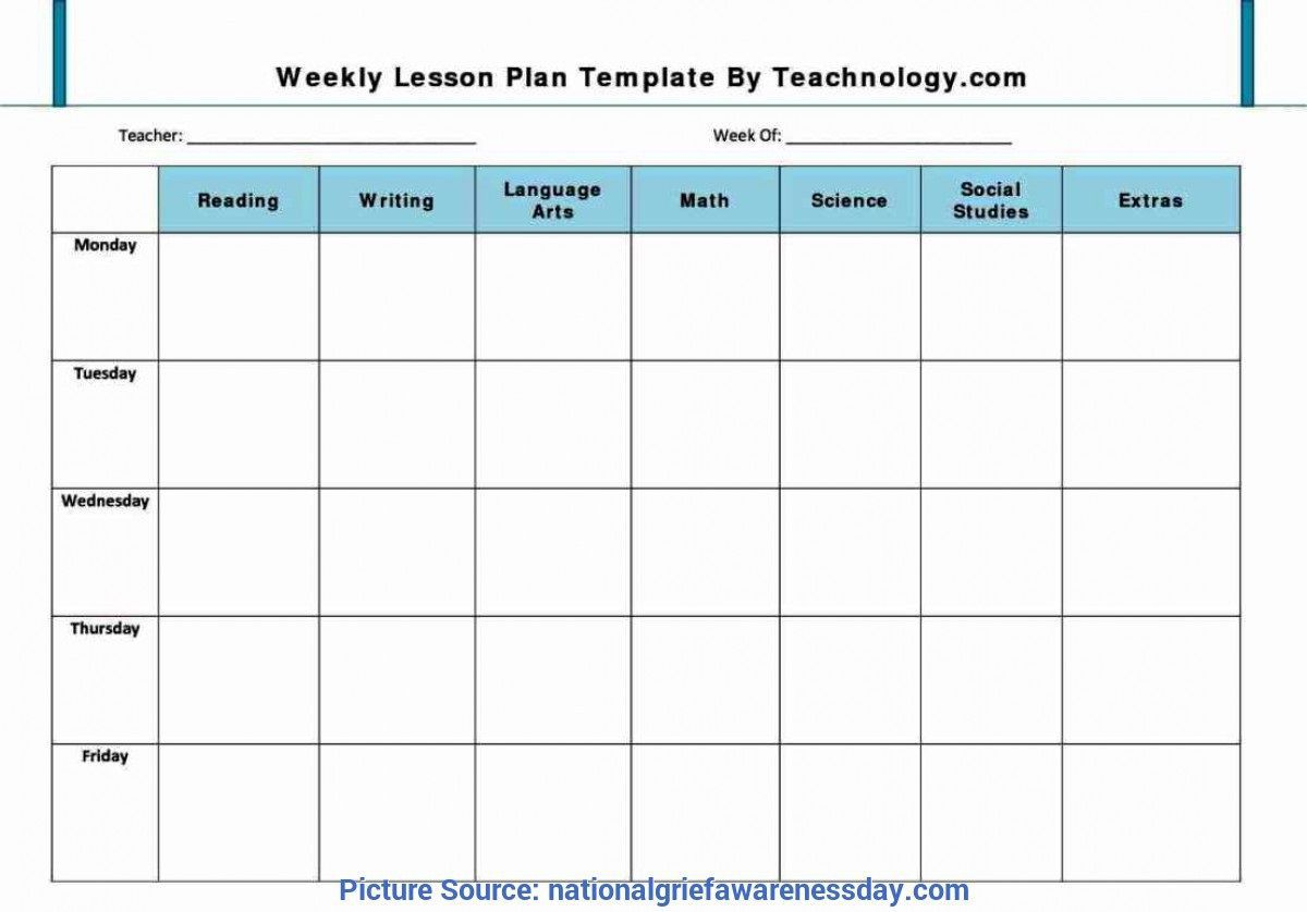 009 Unbelievable Free Blank Lesson Plan Template Pdf Picture  Weekly EditableFull