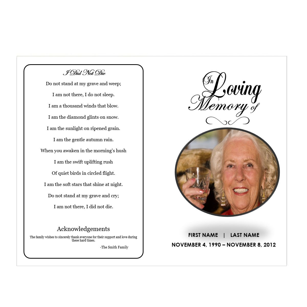 009 Unbelievable In Loving Memory Template Word Concept Full