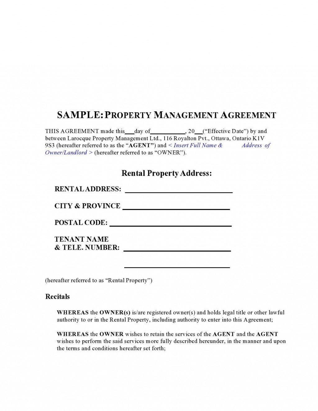 009 Unbelievable Property Management Agreement Template Ontario Sample  ContractLarge