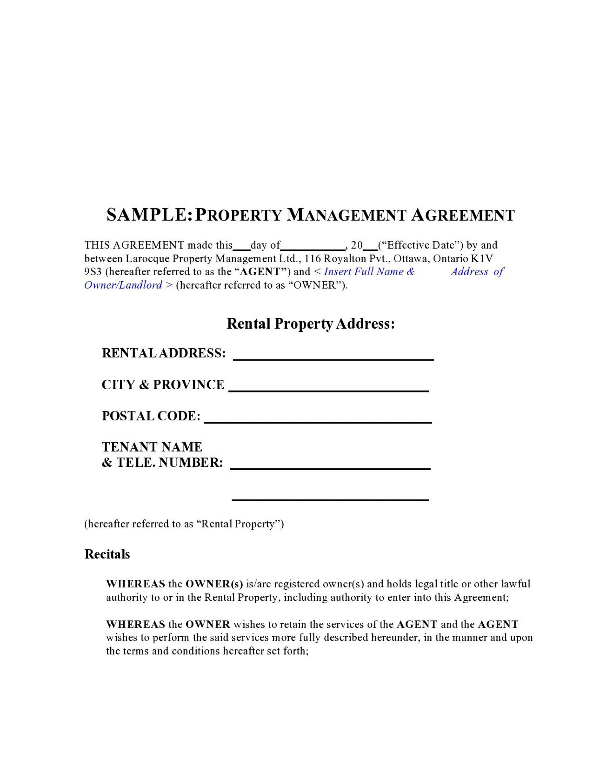 009 Unbelievable Property Management Agreement Template Ontario Sample  Contract1920