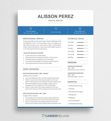 009 Unbelievable Resume Template Word Free Picture  Download 2020 Doc360