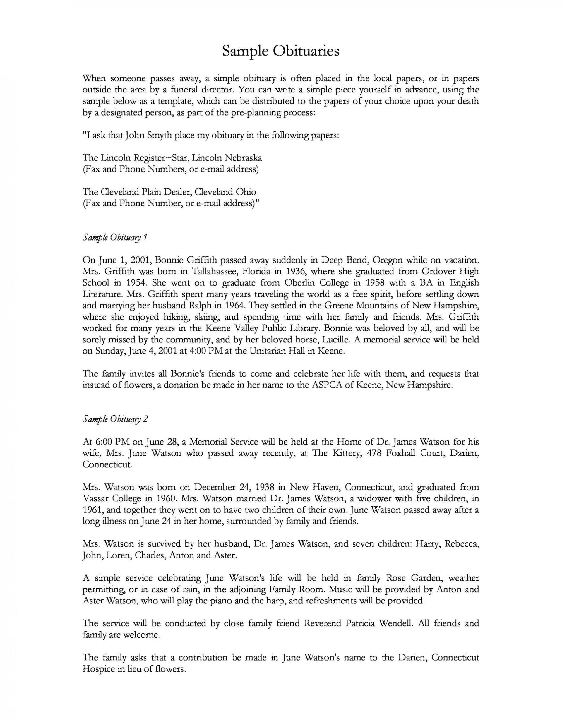 009 Unbelievable Write Your Own Obituary Template Concept 1920