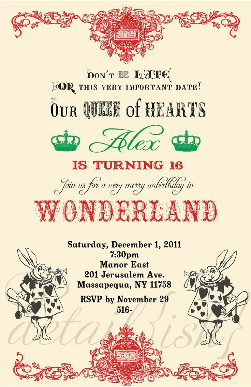 009 Unforgettable Alice In Wonderland Party Template Image  Templates Invitation FreeLarge
