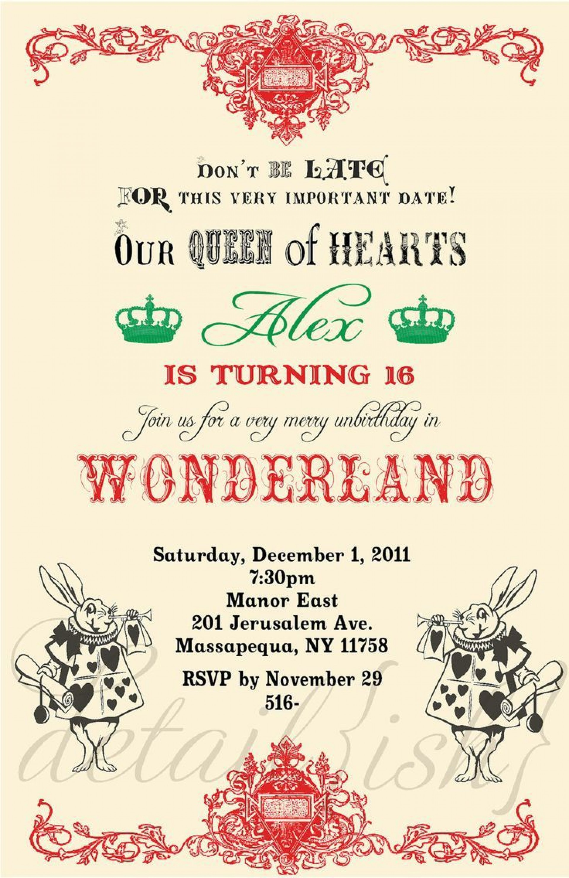 009 Unforgettable Alice In Wonderland Party Template Image  Templates Invitation Free1920