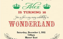 009 Unforgettable Alice In Wonderland Party Template Image  Templates Invitation Free