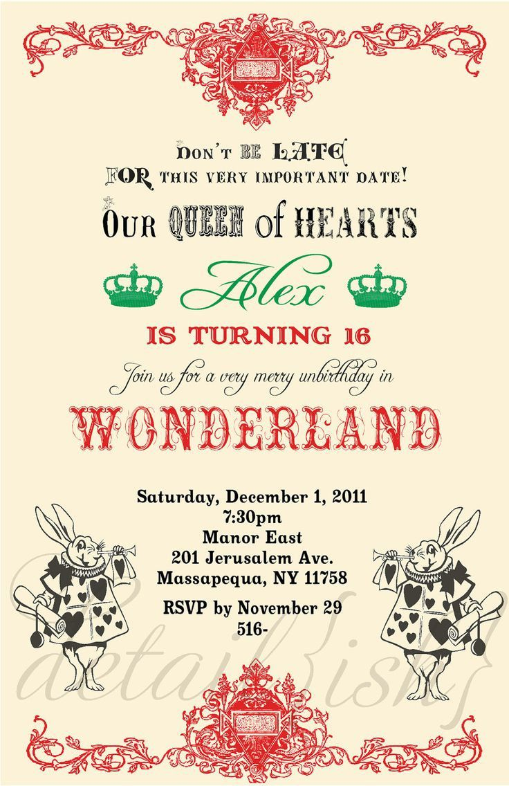 009 Unforgettable Alice In Wonderland Party Template Image  Templates Invitation FreeFull